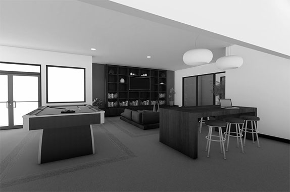 Resident lounge with pool table, bar stools, couches, and large tv in apartment community center