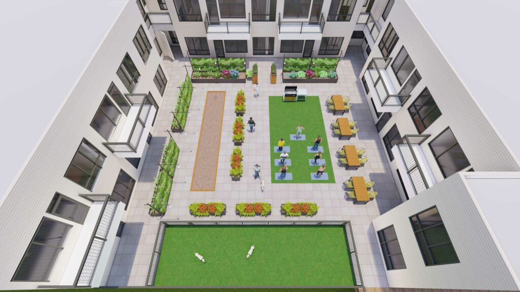 Outdoor pet-friendly amenities space at The Roy