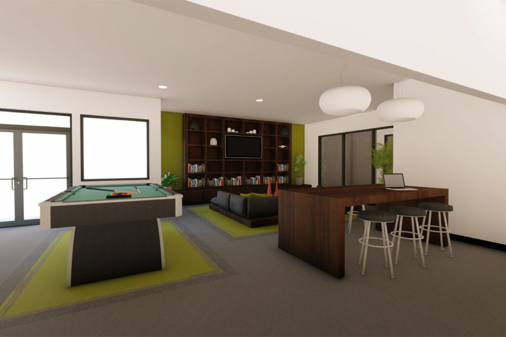 Interior lounge at The Roy apartments