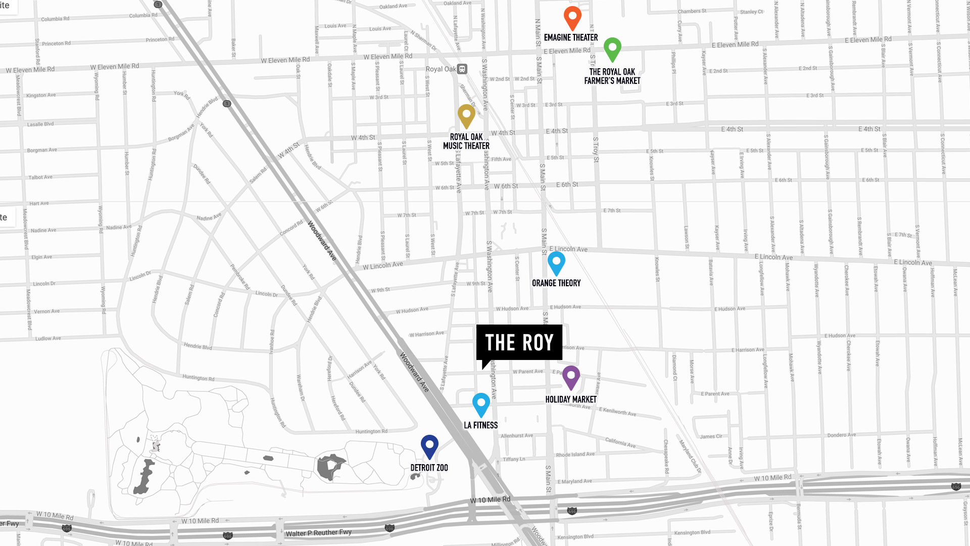 Map of Royal Oak, MI neighborhood showing ROY Apts and local areas of interest